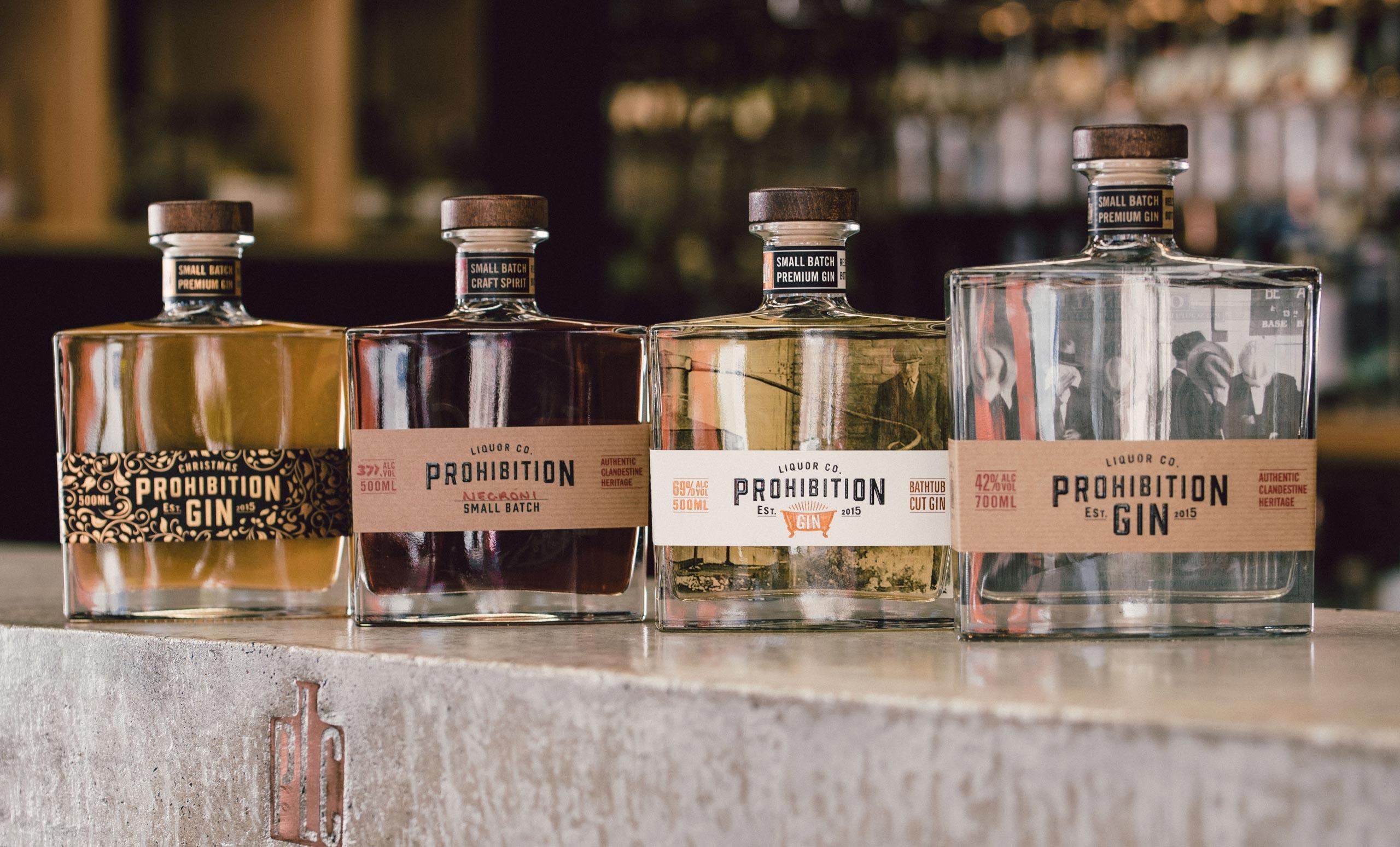 Prohibition Gin label range