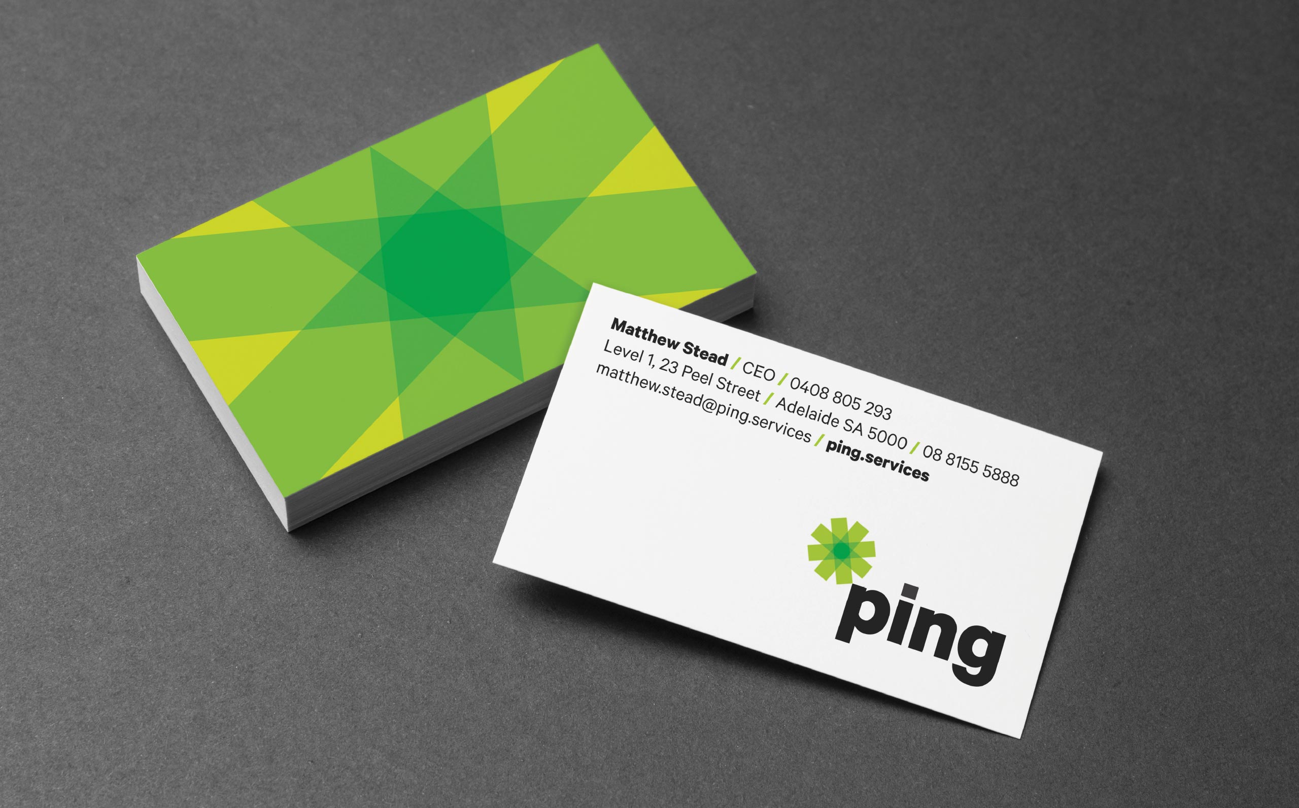 Ping Services business card
