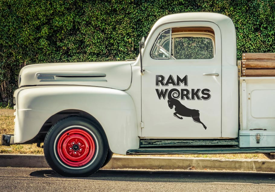 Ramworks logo on the side of a classic truck or ute
